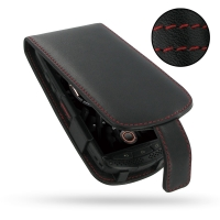 Kyocera TORQUE G01 by au KDDI Leather Flip Case (Red Stitch) PDair Premium Hadmade Genuine Leather Protective Case Sleeve Wallet