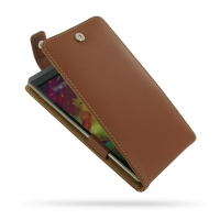 HP Slate 6 VoiceTab Leather Flip Top Case (Brown) PDair Premium Hadmade Genuine Leather Protective Case Sleeve Wallet