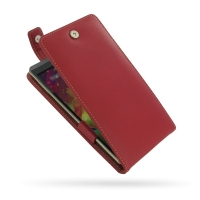 HP Slate 6 VoiceTab Leather Flip Top Case (Red) PDair Premium Hadmade Genuine Leather Protective Case Sleeve Wallet
