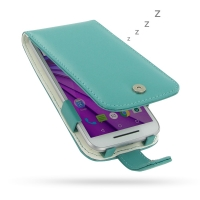 Leather Flip Wallet Case for Motorola Moto G (Gen 3) (Aqua)