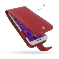 Leather Flip Wallet Case for Motorola Moto G (Gen 3) (Red)