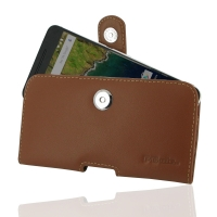 Nexus 6P Leather Holster Case (Brown) PDair Premium Hadmade Genuine Leather Protective Case Sleeve Wallet
