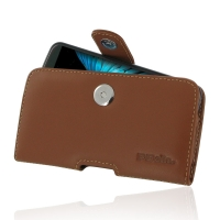 LG K10 Leather Holster Case (Brown) PDair Premium Hadmade Genuine Leather Protective Case Sleeve Wallet