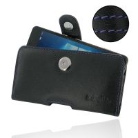 Leather Horizontal Pouch Case with Belt Clip for Microsoft Lumia 950 (Purple Stitch)