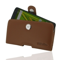 Leather Horizontal Pouch Case with Belt Clip for Motorola Moto X Play (Brown)