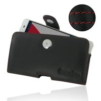 Leather Horizontal Pouch Case with Belt Clip for Pepsi Phone P1 P1s (Red Stitch)