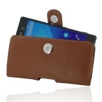 Sony Xperia M5 Leather Holster Case (Brown) PDair Premium Hadmade Genuine Leather Protective Case Sleeve Wallet