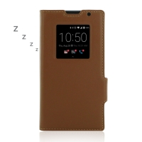 BlackBerry Priv Leather Smart Flip Case Cover (Brown) PDair Premium Hadmade Genuine Leather Protective Case Sleeve Wallet