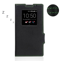 BlackBerry Priv Leather Smart Flip Case Cover (Green Stitch) PDair Premium Hadmade Genuine Leather Protective Case Sleeve Wallet