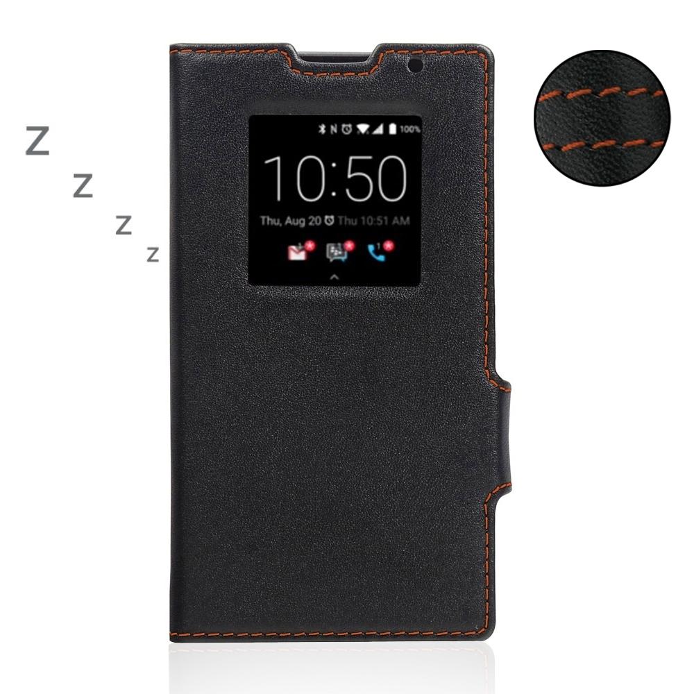 BlackBerry Priv Leather Smart Flip Case Cover (Orange Stitch) PDair Premium Hadmade Genuine Leather Protective Case Sleeve Wallet