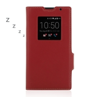 BlackBerry Priv Leather Smart Flip Case Cover (Red) PDair Premium Hadmade Genuine Leather Protective Case Sleeve Wallet