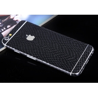 Leather Snake Pattern iPhone 6s 6 Plus Decal Wrap Skin Set (Black)