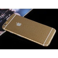 Leather Snake Pattern iPhone 6s 6 Plus Decal Wrap Skin Set (Gold)