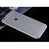 Leather Snake Pattern iPhone 6s 6 Plus Decal Wrap Skin Set (Silver)