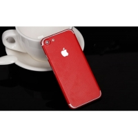 Leather Texture iPhone 7 | iPhone 7 Plus Decal Wrap Skin Set (Red)