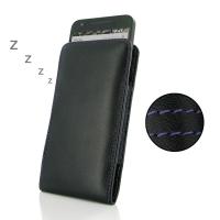 Leather Vertical Pouch Case for LG Google Nexus 5X (Purple Stitch)