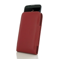 LG K10 Leather Sleeve Pouch Case (Red) PDair Premium Hadmade Genuine Leather Protective Case Sleeve Wallet