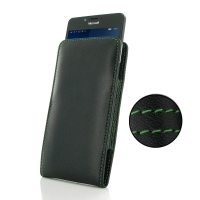 Leather Vertical Pouch Case for Microsoft Lumia 950 (Green Stitch)