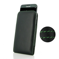 Leather Vertical Pouch Case for Samsung Galaxy S7 edge (Green Stitch)