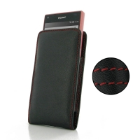 Leather Vertical Pouch Case for Sony Xperia Z5 Compact (Red Stitch)