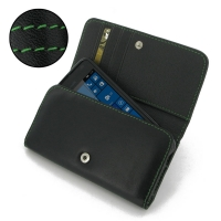 Microsoft Lumia 550 Leather Wallet Case (Green Stitch) PDair Premium Hadmade Genuine Leather Protective Case Sleeve Wallet