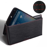 Leather Wallet Pouch for Acer Liquid Z630 (Red Stitch)