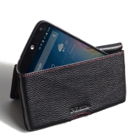 Leather Wallet Pouch for Acer Liquid Z630 (Black Pebble Leather/Red Stitch)