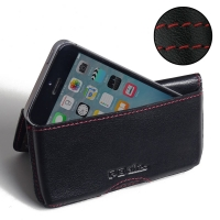 Leather Wallet Pouch for Apple iPhone SE (Red Stitch)