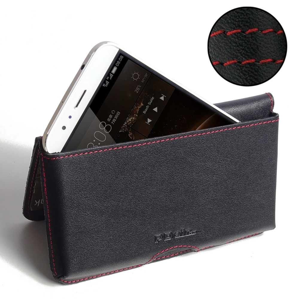 Huawei G7 Plus Leather Wallet Pouch Case (Red Stitch) PDair Premium Hadmade Genuine Leather Protective Case Sleeve Wallet