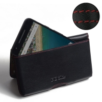 Leather Wallet Pouch for LG Google Nexus 5X (Red Stitch)