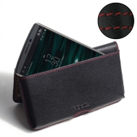 Leather Wallet Pouch for LG V10 (Red Stitch)