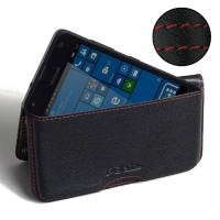 Microsoft Lumia 550 Leather Wallet Pouch Case (Red Stitch) PDair Premium Hadmade Genuine Leather Protective Case Sleeve Wallet