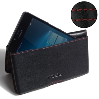 Leather Wallet Pouch for Microsoft Lumia 950 (Red Stitch)