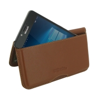 Leather Wallet Pouch for Microsoft Lumia 950 (Brown)