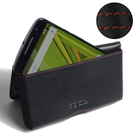 Leather Wallet Pouch for Motorola Moto X Play (Red Stitch)