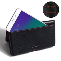 Leather Wallet Pouch for OPPO R9 (Red Stitch)