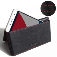 Leather Wallet Pouch for Pepsi Phone P1 P1s (Red Stitch)