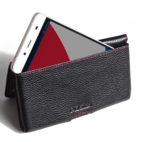 Leather Wallet Pouch for Pepsi Phone P1 P1s (Black Pebble Leather/Red Stitch)