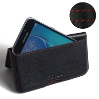 Leather Wallet Pouch for Samsung Galaxy J1 (2016) (Red Stitch)