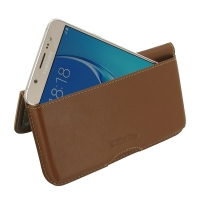 Leather Wallet Pouch for Samsung Galaxy J5 (2016) (Brown)