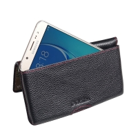 Leather Wallet Pouch for Samsung Galaxy J7 (2016) (Black Pebble Leather/Red Stitch)