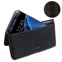Samsung Galaxy S7 edge Leather Wallet Pouch Case (Red Stitch) PDair Premium Hadmade Genuine Leather Protective Case Sleeve Wallet