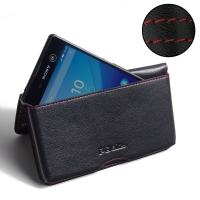 Sony Xperia M5 Leather Wallet Pouch Case (Red Stitch) PDair Premium Hadmade Genuine Leather Protective Case Sleeve Wallet