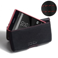 Leather Wallet Pouch for Sony Xperia Z5 Compact (Red Stitch)
