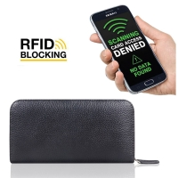 Leather Zip RFID Blocking Wallet Case for Smartphone / iPhone / Samsung Galaxy (Black Pebble Leather/Black Stitch)