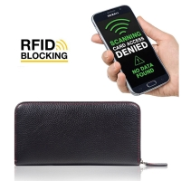 Leather Zip RFID Blocking Wallet Case for Smartphone / iPhone / Samsung Galaxy (Black Pebble Leather/Red Stitch)