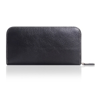 Leather Zip Wallet Case for Cellphone (Black Pebble Leather/White Stitch)
