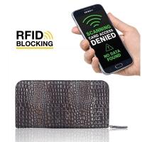 Leather Zip RFID Blocking Wallet Case for Smartphone / iPhone / Samsung Galaxy (Lizard Skin Pattern)