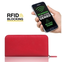 Leather Zip RFID Blocking Wallet Case for Smartphone / iPhone / Samsung Galaxy (Red Pebble Leather)