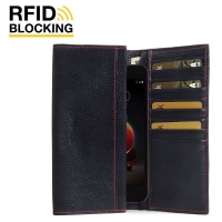 Continental Leather Wallet Case for LG Aristo 2 (Black Pebble Leather/Red Stitch)